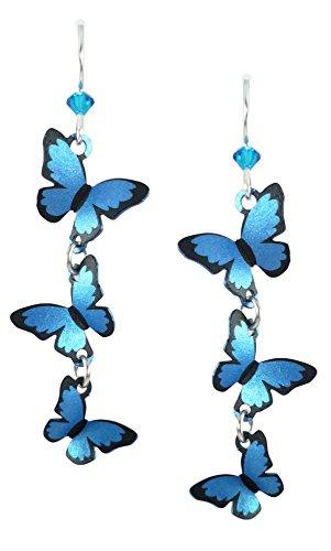 Sienna Sky Cascading 3D Blue Morpho Butterfly Earrings (Cascading Dangle Earrings)