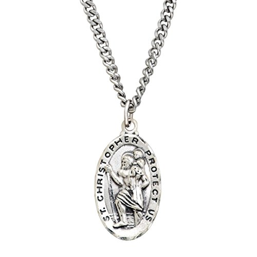 Sterling Silver & Stainless Steel St. Christopher Medallion Necklace