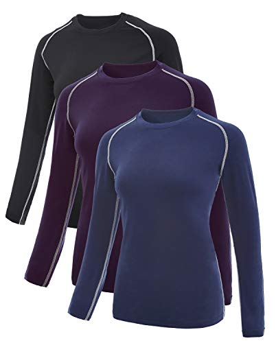 SILKWORLD Women's 3 Pack Compression Shirts Dry Fit Athletic Running Long-Sleeved Sports Workout Baselayer
