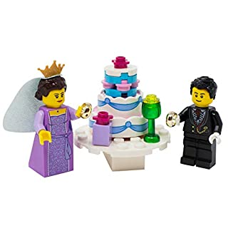 LEGO Wedding Day Marriage with Ring, Cake, Gifts, More - Custom Romantic Married Minifigure Set