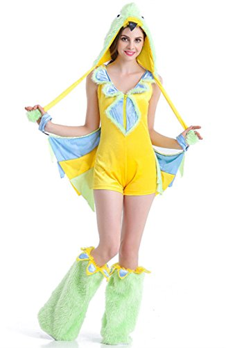 Honeystore Women's Big Bird Costume Adult Halloween Pajamas (Big Bird Feet Costume)