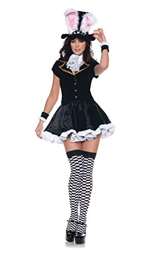 Women's Sexy Mad Hatter Costume - Totally Mad, Black/White, Medium -