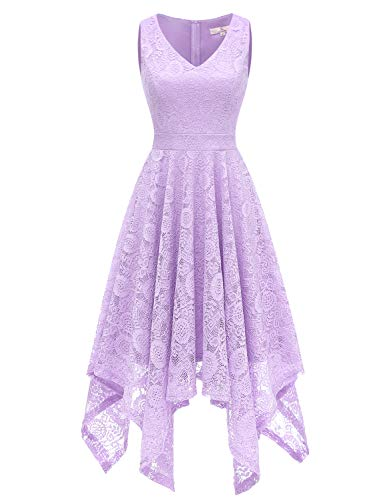 Dressystar 0036 Vintage Lace V-Neck Asymmetrical Handkerchief Hem Cocktail Formal Swing Dress L Lavender