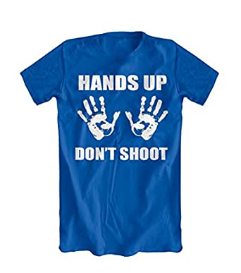 Hands Up Dont Shoot T-Shirt (Ferguson, St. Louis) (Small, Royal Blue)