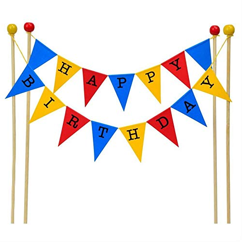 amazing buntings, Happy Birthday Cake Topper Bunting Decoration in Blue, Yellow and Red, Large Flags, Adjustable Length