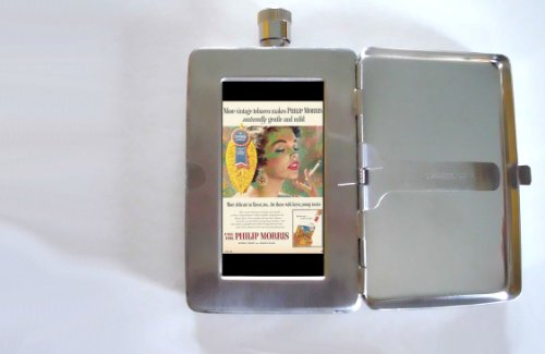 call-for-philip-morris-pretty-girl-vintage-ad-2oz-flask-cigarette-case-id-wallet