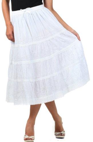Sakkas Jupe Coton Mi-Longue Brode Solide Gitane / Bohmienne White