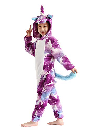 Kids Unicorn Onesie Pajamas Animal Costume Halloweem Costume Purple 85#]()