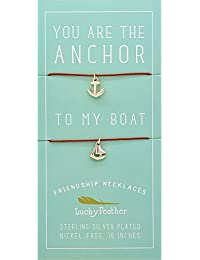 """Friendship Necklace Set for Women and Girls, Sterling Silver Dipped """"You are the Anchor to My Boat"""" (2 Pieces)"""
