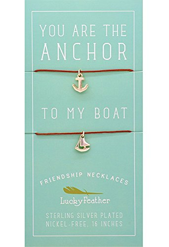 "Lucky Feather - Lucky Feather Friendship Necklace Set for Women and Girls, Sterling Silver Dipped ""You are The Anchor to My Boat"" (2 Pieces)"