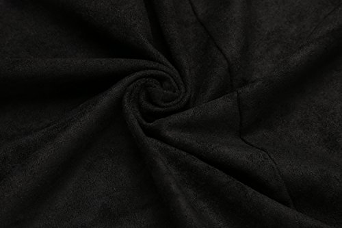 Hotouch Women's Black Faux Suede Hem Sleeveless Vest Waistcoat Cardigan(Black S) by Hotouch (Image #5)