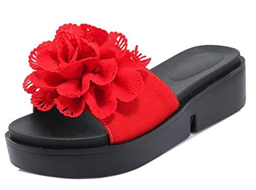Mules Ouvert Rouge Talon Bout Femme Easemax Fleurs Plat Elégant vSwZtWqY