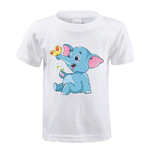 Cutestory Little Cartoon Elephant Calf With A Flower And But Chirldren Design Cotton T Shirts White