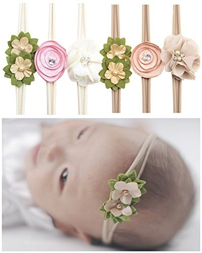 Jiaqee Baby Girl Headband Set - 6 Pcs Crystal Pearls Flower Soft Elastic Nylon HairBand Hair Ties For Toddler Gift