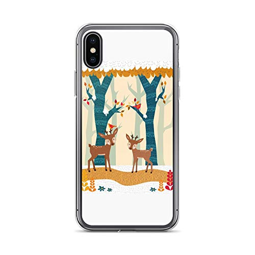(iPhone X/XS Case Anti-Scratch Creature Animal Transparent Cases Cover A Lovely Winter Scenery Animals Fauna Crystal Clear)