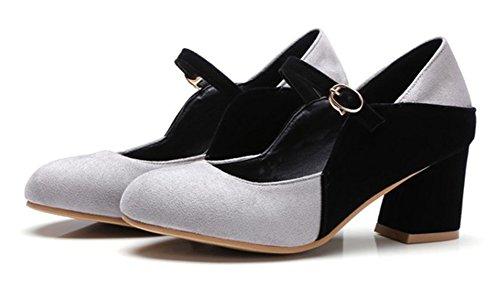 Aisun Donna Moda Punta Tonda Fibbia Blocco Medio Tacchi Scarpe Pompe Con Cinturini Alla Caviglia Grigio