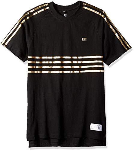 Southpole Men's Stripe Short Sleeve Fashion Tee, Black Foil, Small ()