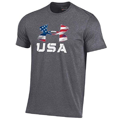 Under Armour Men's-USA Patriotic Charged Cotton T-Shirt Collection-Stars and Stripes UA Logo-Grey-Small
