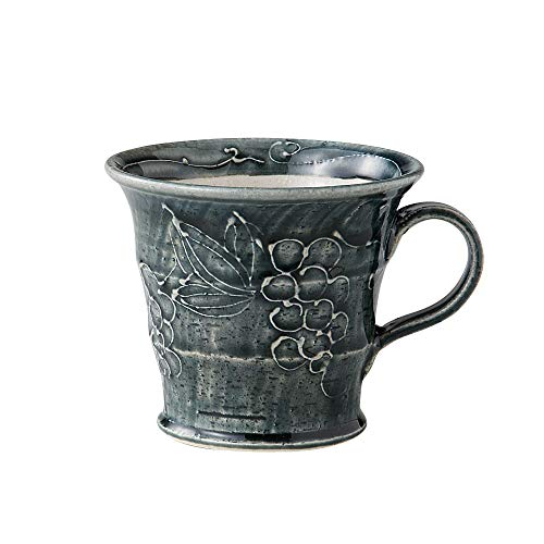 Indigo Minoyaki Teacup Mug with Grapevine Design [Made in -