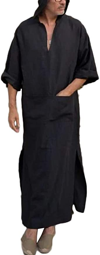 Runcati Mens Henley Hooded Robes Short Sleeve Casual Kaftan Solid Ankle Length Thobe Ultra Long Gown Kangaro Pocket