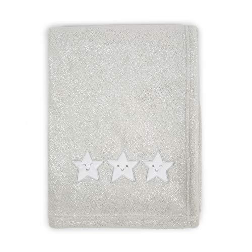 Tadpoles Star Applique Plush Fleece Baby Blanket, Silver
