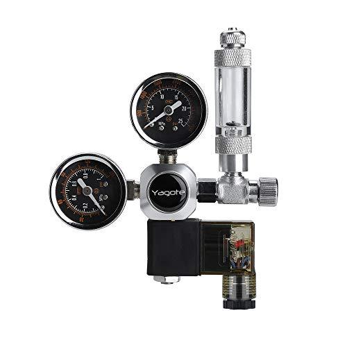 Yagote C02 Regulator Controller Carbon Dioxide Gauge Meter CO2 Pressure Reducer for Planted Aquarium Tank (Dual Gauge with Solenoid Valve) from Yagote