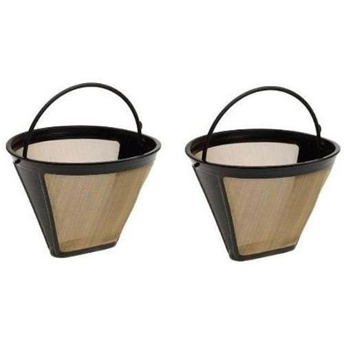 Blendin GF214CB #4 Cone Permanent Golden Stainless Steel Coffee Filter, 2 pack by GoldTone