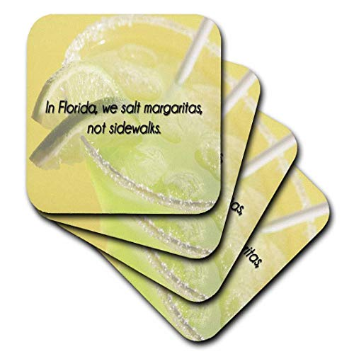 3dRose in Florida, We Salt Margaritas, Not Sidewalks Green and Yellow Background - Ceramic Tile Coasters, Set of 4 (CST_173284_3)