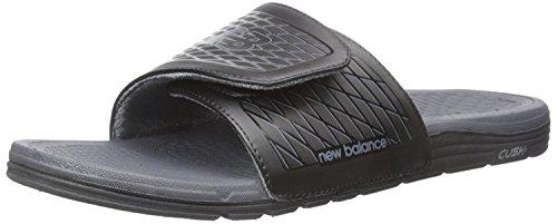 New Balance Mens Cush+ Slide Sandal, Negro/Gris, 41.5 4E EU/7.5 4E UK