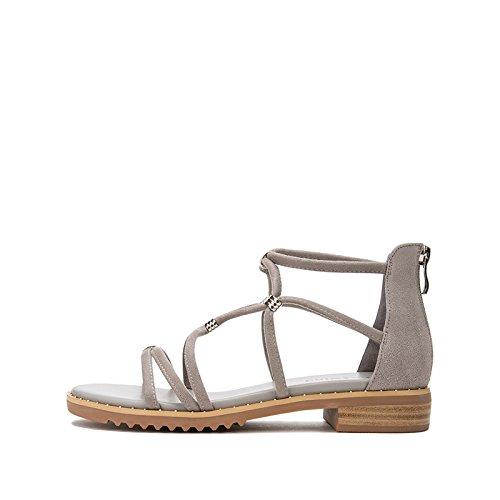 Tacchi Sandali piatti Grigio casual Sandali moda 34 donna estivi Sandali tacco alla Pantofole alti basso DHG basso tacco a da con T0wWz