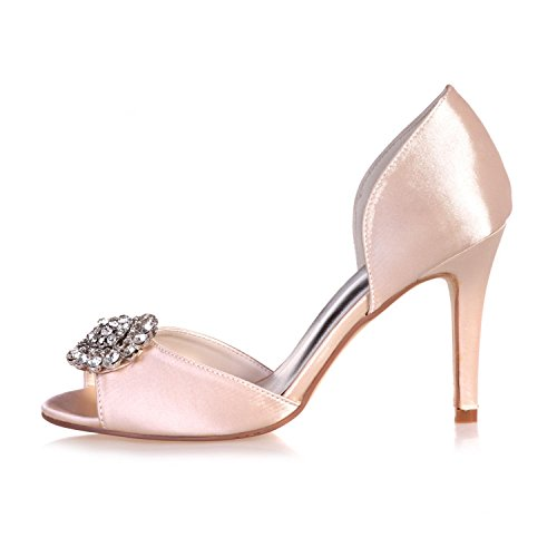 Blue Shoes Night YC Toe amp; 15 Night Rhinestone L Wedding Woman's Satin Peep Platform 5623 afqS6Hw