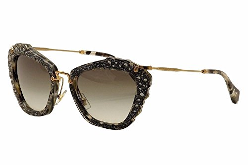 Miu Miu MU04QS DHE0A7 Crystal / Grey Noir Cats Eyes Sunglasses Lens Category - Noir Sunglasses