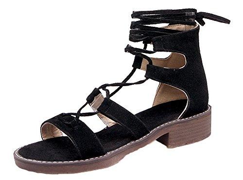 Dépolissement d'orteil Lacet Unie Ouverture Sandales Femme Couleur AalarDom Noir xtSIaww