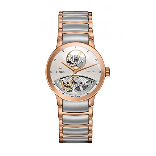 Rado Men's Centrix 33mm Two Tone Steel Bracelet Rose Gold Plated Case Automatic White Dial Watch R30248012