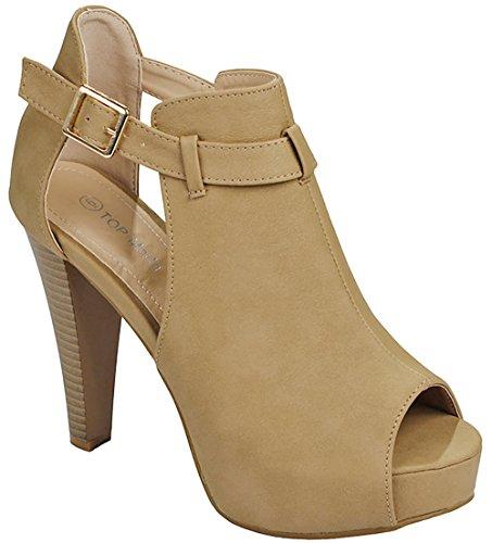 Stacked Platform Pumps (Women Table Tan Buckle Peep Toe Chunky Stacked Block Heel Hidden Platform Ankle Boots Sandal Pumps-7)