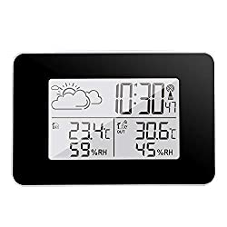 DDSKY Digital Alarm Clock, Wireless Weather Station with Large LCD Display, Outdoor Forecast Sensor Clock for Bedrooms, 12/24 Hours
