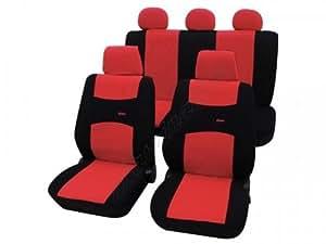 Fundas de asiento de coche, Seat Altea / Altea Xl, Arosa, Cordoba, Exeo/Exeo St desde 2009, Fura, Ibiza a 5/2008, Ibiza desde 6/2008, Leon a 7/2005, Malaga, Marbella, Terra, Toledo a 10/2004, rojo negro