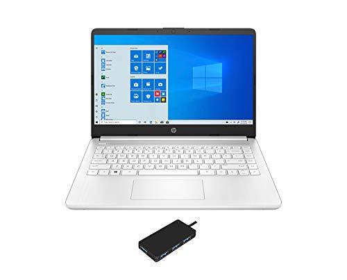 HP 14z Home and Business Laptop (AMD AMD 3020e 2-Core, 8GB RAM, 128GB SSD, 14.0″ HD (1366×768), AMD Radeon Graphics, WiFi, Bluetooth, Webcam, 2xUSB 3.1, 1xHDMI, SD Card, Win 10 Home) with USB Hub