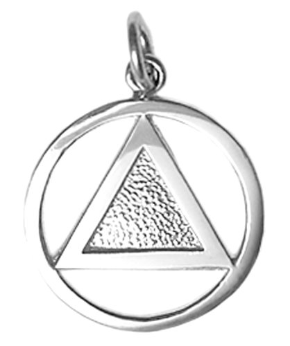 9 Pendant Sterling Silver Jewelry (Alcoholics Anonymous Clean Vintage Style Symbol Pendant, #09-1, Smooth Circle with Textured Triangle (sterling-silver))