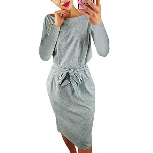 Sleeve Wear Inkpoo Dress Casual Womens 94 longgrey Belt to Elegant Office Short Work with Dress XIwwHZqxf