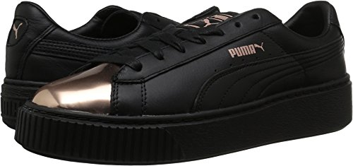 PUMA Women's Basket Platform Metallic - Puma Black Rose Gold (Large Image)