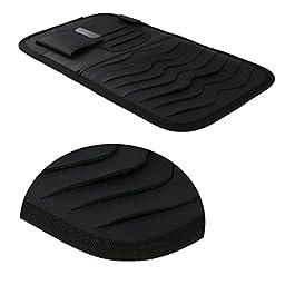 Vulcan-x CD Sun Visor Organizer Detachable Portable PU Leather with 8 CD Slots + 3 Credit Cards Pockets + 1 Sunglasses Holder + 1 Pen holder-Black
