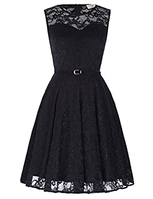 GRACE KARIN Women's Lace Dress Sleeveless Crew Neck Flared A-Line with Belt