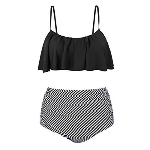 ECHERY Femmes de Mode Taille Haute Maillot de bain Deux pièces Maillots de bain Plage Falbala Bikini Set