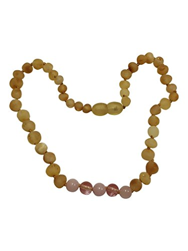 (Baltic Amber Teething Necklace By UMAI - Cherry Amber and Cherry Quartz- Anti-flamatory, drooling and teething pain reduction- Unisex- Certified Amber with the highest quality- Safely Knotted Beads )