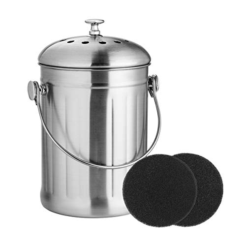 Compost Bin, Stainless Steel Indoor Compost Bucket for Kitchen Countertop Odorless Compost Pail for Kitchen Food Waste with A Carrying Handle and 2 Charcoal Filter 1.3 Gallon Easy to Clean -