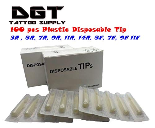 Tattoo Supply 100 Plastic Disposable Tip (Nozzles) Round & Flat (Mag)