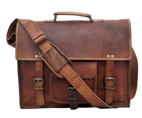 Handmade Leather Messenger Bag for Laptop Briefcase Satchel Bag (11 x 15) Worn Leather Messenger Bag