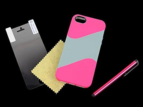 iPhone SE Case - All4you 2 Pcs nouveau cas couvrir pour iPhone SE / 5 s / 5 + protecteur d'écran + stylet (rose + gris)