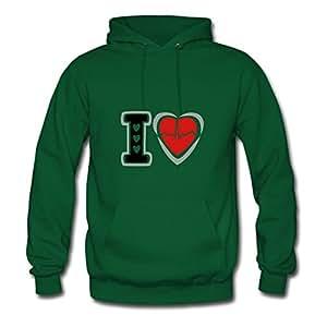 Custom I Love Heart Signal Sweatshirts Green X-large Women